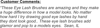 """These Eye Lash Brushes are amazing and they make  a huge difference in how a model looks. No matter  how hard I try drawing good eye lashes by hand they dont look good.. These eye lash brushes add  glamor and pop to a models eyes.  Sean, IL Customer Comments:"